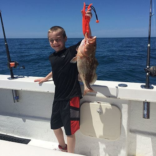 Kid Catches First Red Grouper on Ft Myers Deep Sea Charter