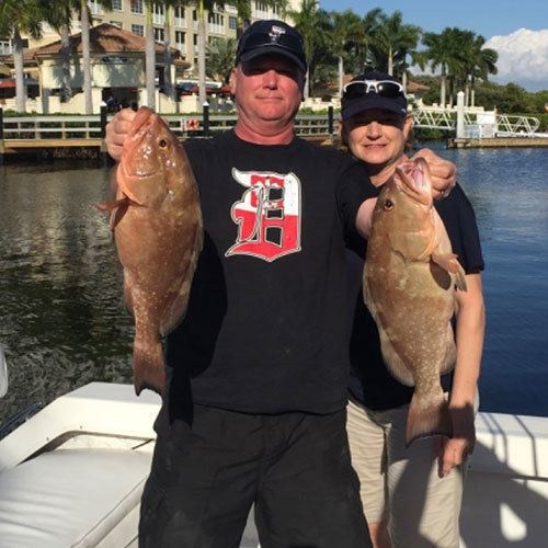 Red Grouper Pair Caught on Cape Coral Deep Sea Fishing Charter